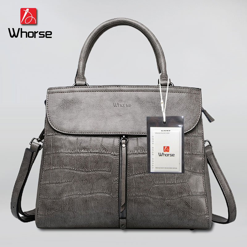 [WHORSE] Brand Logo Hot High Quality Women Handbag Genuine Leather Crocodile Shoulder Messenger Bags Real Cowhide Casual Tote стоимость