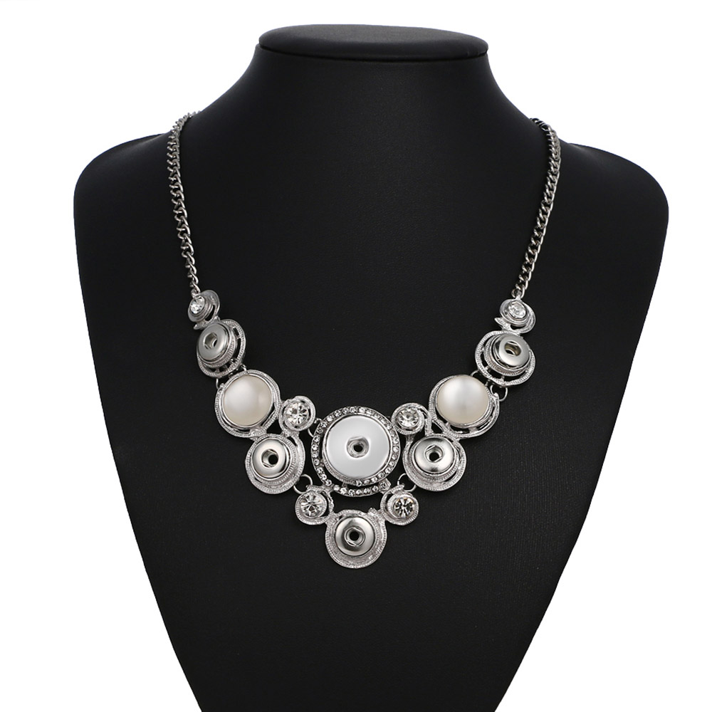 New Fashion Silver Gold Snap Necklace DIY jewelry Rhinestone Cat eyes Fittings fit DIY 18MM&12MM snap buttons jewelry