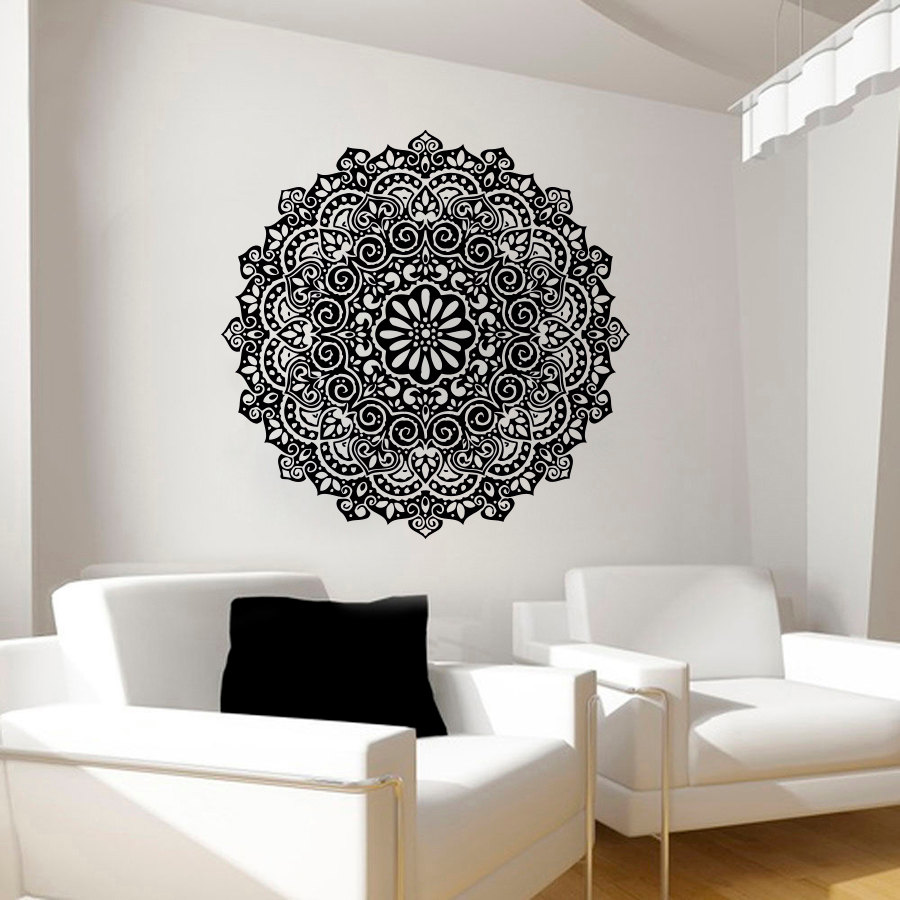 Indian mandala pattern wall decals for living room - Removable wall stickers living room ...