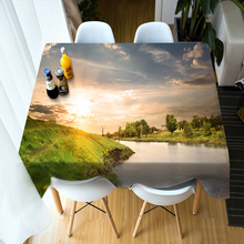3D Round Tablecloth Small Creek Sunset Glow Scenery Pattern Washable Polyester Cotton Rectangular Table Cloth Home textile
