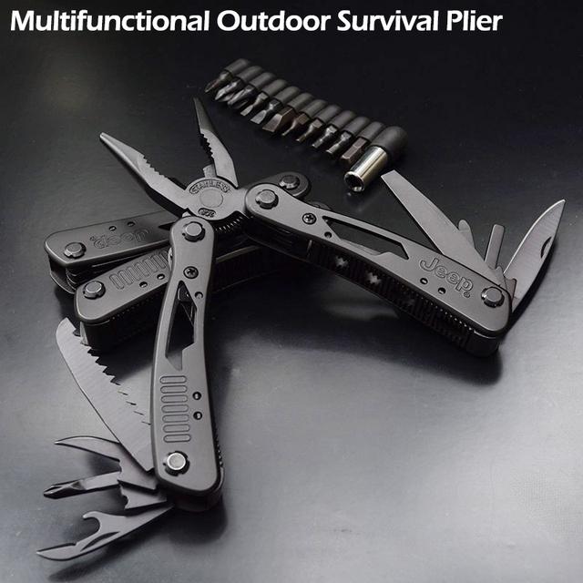 De alta Qualidade Ao Ar Livre Sobrevivência Multifunções Alicate Liga de Tungstênio Inoxidável Bolso Multi Kit de ferramentas Faca de Acampamento