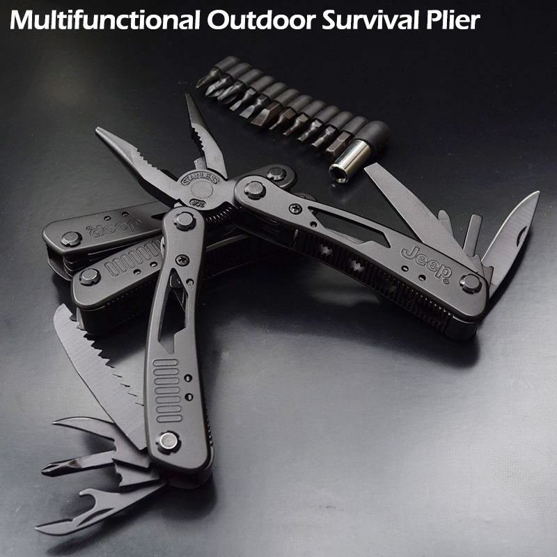 High Quality Outdoor Survival Multifunction Plier Stainless Tungsten Alloy Pocket Multi tools Knife Camping Kit image