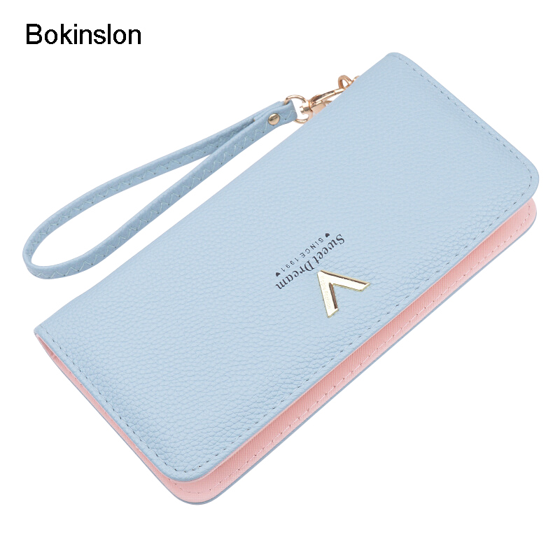 Bokinslon Women Long Section Zipper Wallet PU Leather Small Fresh Ladies Fashion Purse Large Capacity Practical Wallet WomanBokinslon Women Long Section Zipper Wallet PU Leather Small Fresh Ladies Fashion Purse Large Capacity Practical Wallet Woman