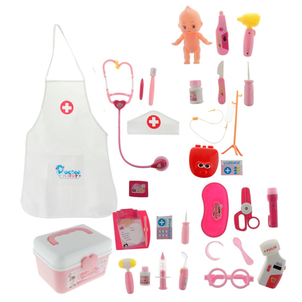 Infirmière jouet semblant jouer médecins jeux de rôle valise portable ABS plastique Kits médicaux jouet éducatif cadeau rose