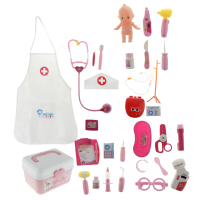 Nurse Toy Pretend Play Doctors Role Games Portable Suitcase ABS Plastic Medical Kits Educational Toy Gift Pink