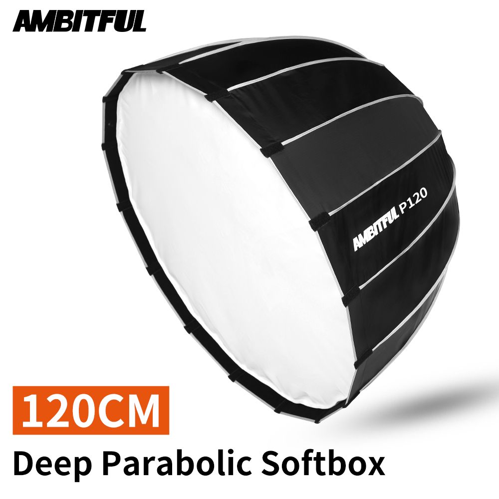 AMBITFUL P120 120CM 16 Rods Deep Parabolic Portable Bowens Mount Softbox For Studio Flash Speedlite Reflector Studio Softbox