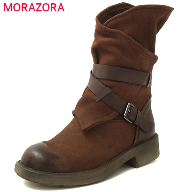 Cuero Vaca Martin De Llegada Negro Redonda dark Tobillo Punta Mujer Morazora Nueva Zapatos 2019 Moda Otoño Botas Hebilla Brown Gamuza xzqnaaF0Ww