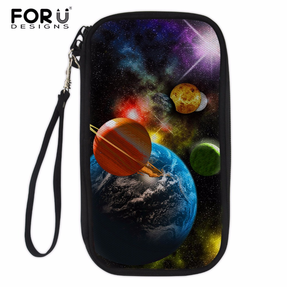 FORUDESIGNS Galaxy Print Credit Card Holder Men Business Paperwork Credit Card Women Multi-function Card Holder Passport Wallet