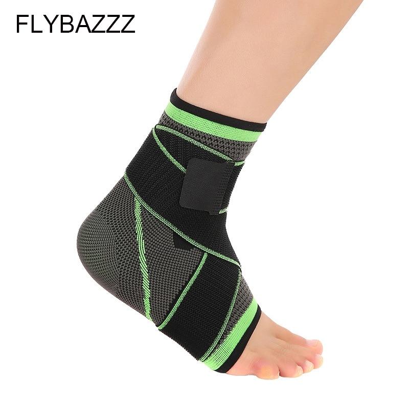 FLYBAZZZ 3D Weaving Elastic Nylon Strap Ankle Support Brace Badminton Basketball Football Taekwondo Fitness  Gym Heel Protector