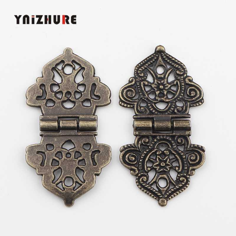 Vintage Alloy Hollow Flower Hinge,Chinese Furniture Hardware,Metal Hinges,Cabinet Door Butt Hinges For DIY Box,24*54mm 2pcs
