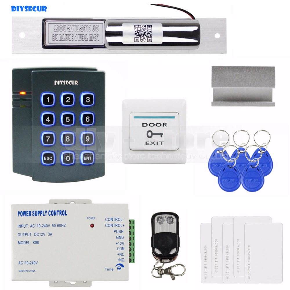 DIYSECUR Complete 125KHz RFID Keypad Access Control System Kit + Electric Bolt Lock + Power Supply diysecur complete 125khz rfid reader metal keypad password access control system kit electric bolt lock power supply