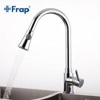 Frap new arrival 2018 Pull Out chrome brass Kitchen sink Faucet Mixer Tap Swivel Spout Sink Faucets Kitchen Faucet