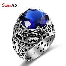 Szjinao модное этническое кольцо из серебра 925 пробы, украшения с синим камнем, винтажные кристаллы, сапфировое серебро, кольца для женщин и мужчин, распродажа