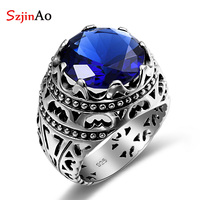 Szjinao Fashion Ethnic Silver Ring Blue Stone Jewelry Vintage Crystals Sapphire Sterling Silver Rings For Women Men Sale