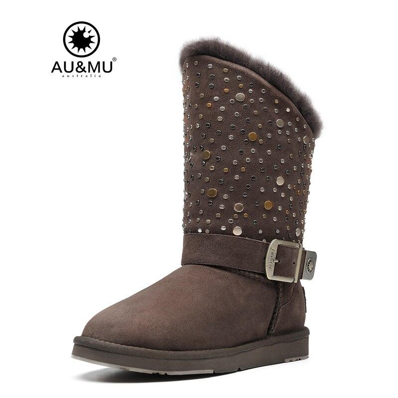 2017 AUMU Australia Shearling Sparkle Buckle Slip-on Thick Platform Round Toe Rubber Soles Mid-calf Winter Snow Boots UG N371 2017 aumu australia fashion mini