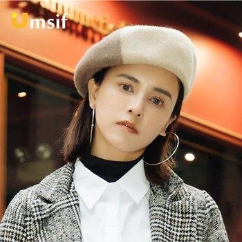 2018 las nuevas mujeres clásico de invierno de 100% de lana caliente estilo  francés arte boina sombreros mujeres Patchwork boinas pintor gorros mujer  ... 05843b931c9