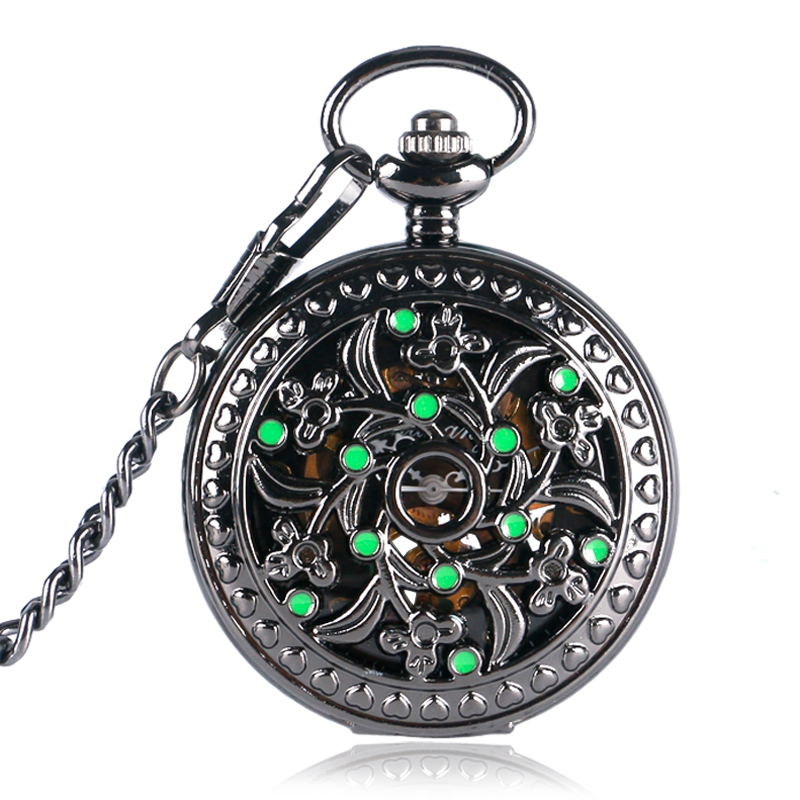 Vintage Hollow Flower Green Ornament Pocket Watch Women Mechanical Hand Winding Chain Women Men Unisex Gift for Xmas compatible okidata es9431 es9531 45103724 image drum clear chip for oki es9541 es 9541 9431 pro9431dn pro9541dn pro9542dn chips