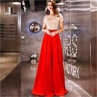LOVONEY Long Evening Dress Elegant A Line Boat Neck Red Prom Party Dresses Formal Dress Vestido de Festa Evening Gown YS438 Evening Dresses