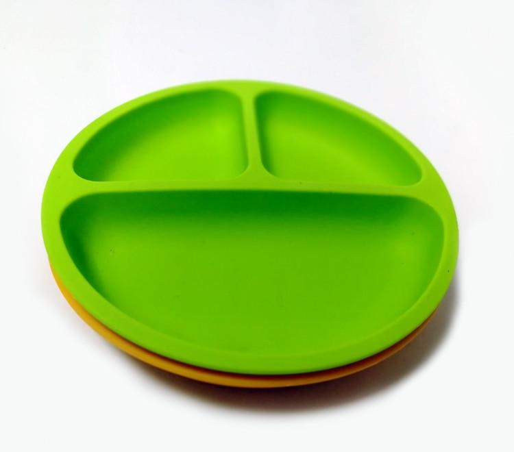 BPA бесплатно Нескользящие расстроен ребенка Силиконовая Круглая Shapep разделены столовых приборов для детей в один кусок столовых