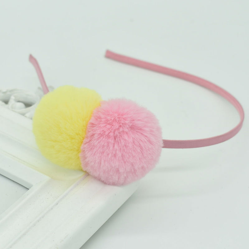 Girl cute hair ball headband kid ball beautiful headdress popular hair accessories   Headwear