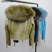 Jancoco Max Genuine Leather Coat Women S Real Lined Large Raccoon Fur Collar Fashion Cropped Jackets