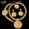 2017 New Fashion Big Pendant Necklace Set Nigerian Wedding African Beads Jewelry Sets High Quality Dubai Gold Plated