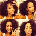 Клип В Расширениях Человеческих Волос 7А 4B 4C Афро-Американской Афро Kinky Curly Clip Ins Монгольский Вьющиеся Человеческих Волос Клип В Расширениях