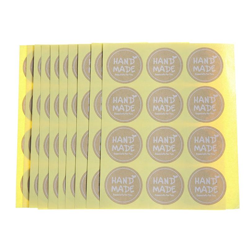 120pcs / 10 Sheets Vintage Kraft Paper Round Label Handmade Sticker Baking Packaging Biscuit Bag Decoration Sealing Sticker