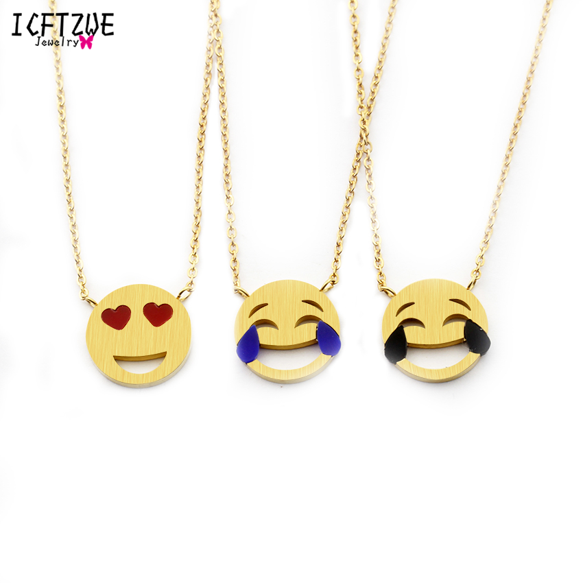 ICFTZWE Gargantilha Choker Gold Chain Funny Facial Expression Pendant Stainless Steel Women Choker Necklaces Bridesmaid Gift