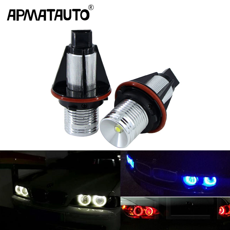 2x Error Free 10w 20w 40w 60w LED Angel Eyes Marker Lights Bulbs For BMW E39 E53 E60 E61 E63 E64 E65 E66 E87 525i 530i xi 545i e39 rgb led angel eyes led marker fog light head lamp kit for bmw e39 e87 e63 e64 e53 e65 e66 e60 e61 free shipping