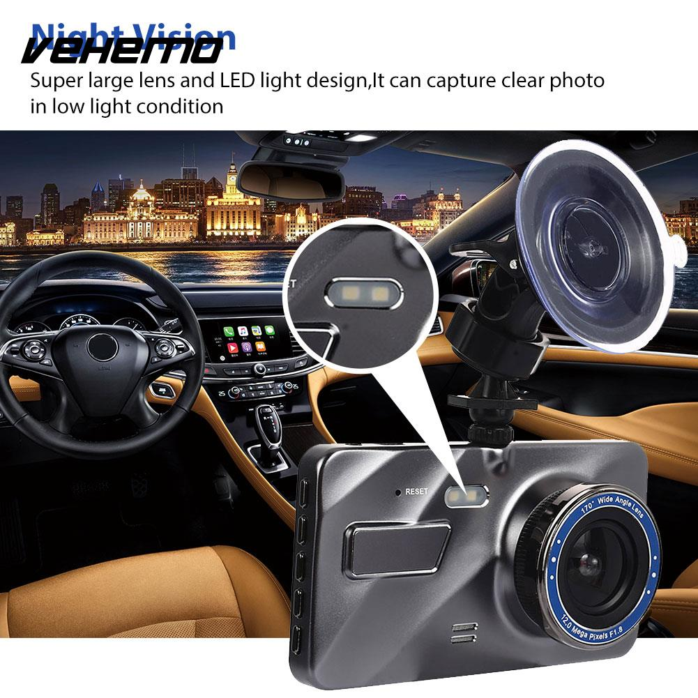 Vehemo HD1080P 4 Inch Dash Cam Car Camera Rearview Mirror Car DVR Driving Recorder Durable Loop Recording 170 Degrees