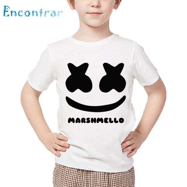Print moda DJ Marshmello Crianças Funny T shirt Crianças Sorrir Topos de Verão Meninos/Meninas Do Bebê Roupas Casuais, HKP2401