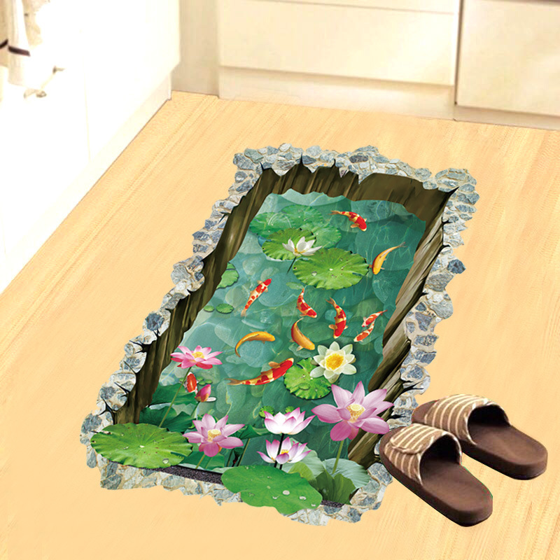 3D Fish Pond Floor Stickers For Kids Rooms Bedroom Ground Non-slip Home Floor Decoration Mural Poster Wal Sticker Art Decals