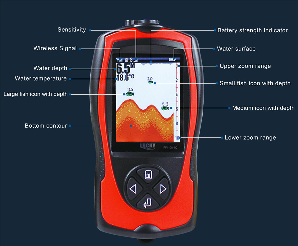 Lucky Wireless FF1108-1CW Fish Finder Color Screen Sonar Smart ...