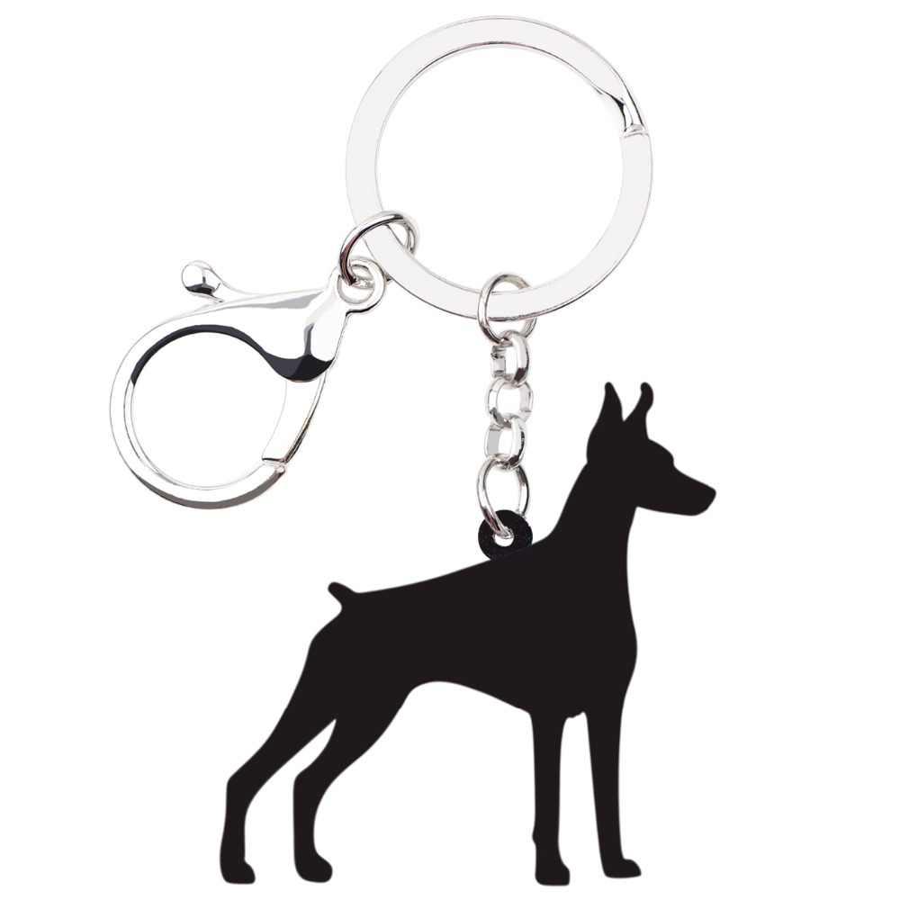Weveni акриловые в стиле аниме собака породы Доберман-пинчер брелки кольцо держатель для женщин девушек женщин мужчин сумки вечерние подвески для автомобиля ювелирные изделия в виде животных подарок
