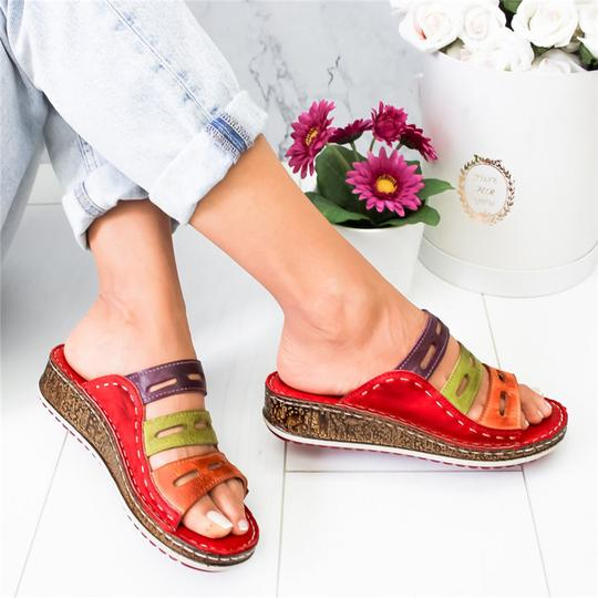SHUJIN New Summer Women Sandals 3 Color Stitching Sandals Ladies Open Toe Casual Shoes Platform Wedge Slides Beach Shoes