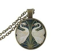Cisnes colar animal jóias de vidro cabochão pingente nupcial jóias presentes de Natal maravilhoso antique bronze cadeia neckless