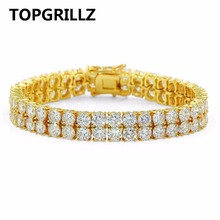 TOPGRILLZ Hip Hop Bracelet 2 Rows AAA Cubic Zirconia Tennis Bracelets All Iced Out Elegant Style Gift for Wedding/ Birthday