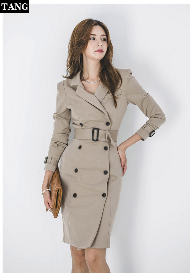 2019 New Elegant Spring Coat Women Fashion Irregular Long Sleeve Belted Double-Breasted Office   Trench   Coat