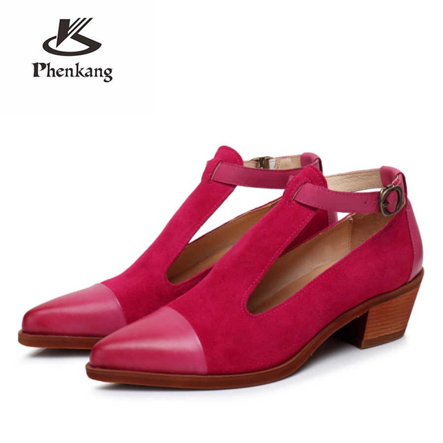 100% pelle di pecora Genuina di cuoio yinzo della signora del progettista vintage Pompe Sandali scarpe fatte a mano scarpe oxford per le donne marrone blu rosso