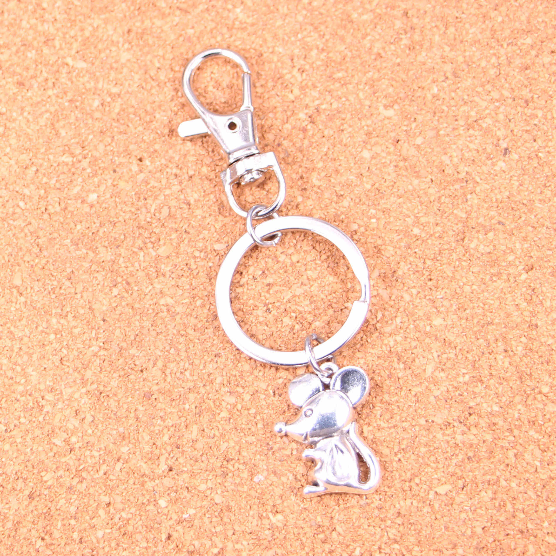 Mouse Keychain Silver Swivel Lobster Clasp Clips Handbag Car Charms Jewelry For Key Chain Trinket Jewelry Gift