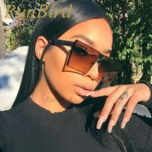 RunBird 2017 New Color Women Sunglasses Unique Oversize Shield UV400 Gradient Vintage Square Sun Glasses Frames for Men 099R