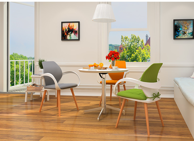 living room chair tea coffee house stool wood leg orange color green gray  cushion retail and