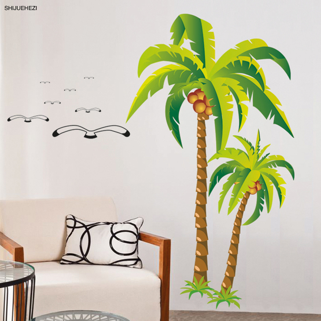 [SHIJUEHEZI] Coconut Tree Wall Sticker Hawaii Tropical Palmeiras Tree For  Living Room Tall Palm Part 42