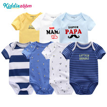 7Pcs/Sets Short Sleeve 3 6 9 12Months Newborn Rompers Baby G