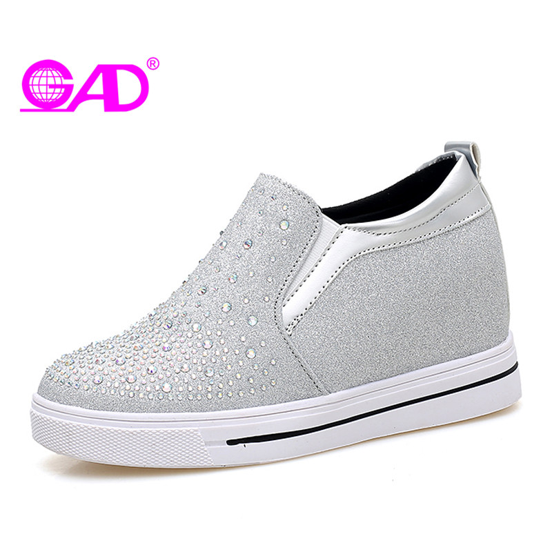 GAD Women Loafers Sequins Crystal High Quality Round Toe Slip-on Comfortable Casual Fashion Women Shoes 2018 Silver Black 35-39 2017 shoes women med heels tassel slip on women pumps solid round toe high quality loafers preppy style lady casual shoes 17