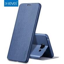 X-Level Slim Leather + TPU Flip Case For Samsung Galaxy A7 2017/ 2016/ 2015 A7000 A710 A710F A720 A720F Luxury Phone Case Cover