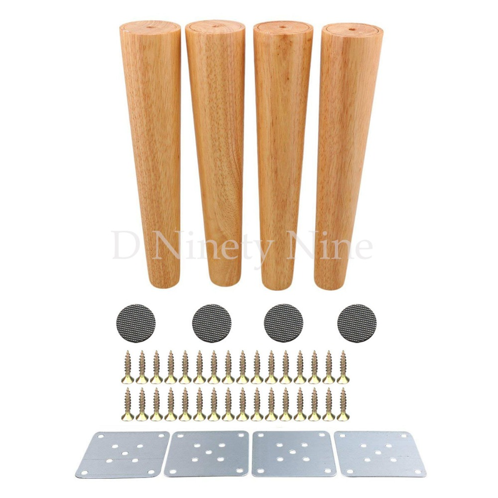 30CM Natural Wood Reliable Wood Furniture Leg Cone Shaped Wooden Feet For Cabinets Soft Table Set Of 4