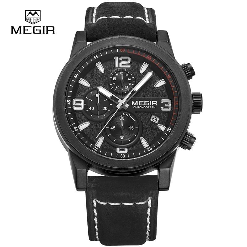 Megir Quartz Watch for Man Chronograph Luminous Hands Waterproof Mens Wristwatches Fashion Large Dial Calendar Leather Band все цены