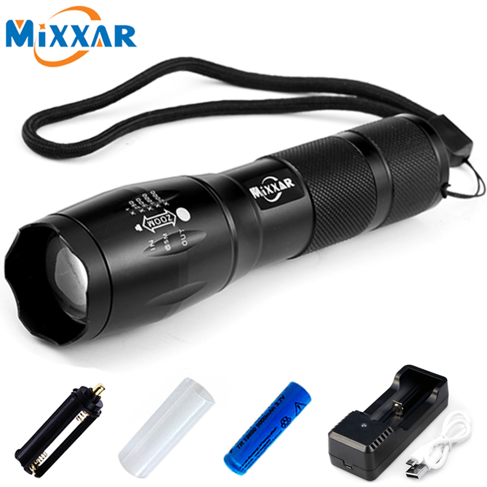 Mixxar E17 XML-T6 4000LM Aluminum 5 Modes Zoomable CREE LED Flashlight LED Torch Light for AAA or 18650 Rechargeable Battery cree xm l t6 bicycle light 6000lumens bike light 7modes torch zoomable led flashlight 18650 battery charger bicycle clip